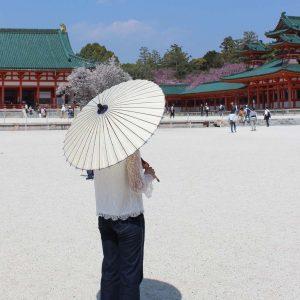 白い和日傘 平安神宮 white Japanese umbrella