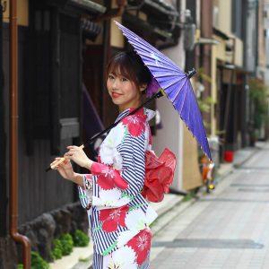 和日傘 紫色 Japanese umbrella  ツバメ柄