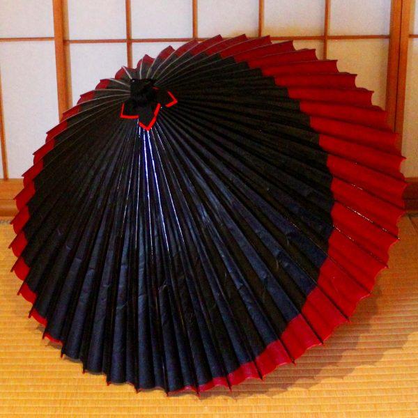 黒と赤の和傘 蛇の目傘 番傘 赤い三日月 Japanesesumbrella