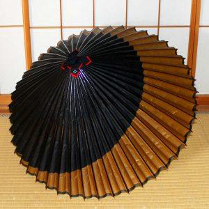 お月さんの切り替え和傘 茶色と黒 Japanesesumbrella