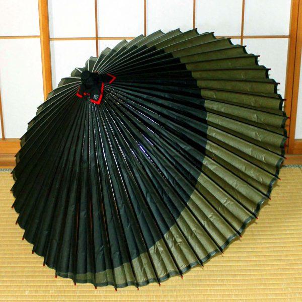 和傘 緑と黒の月 月奴 Japaneseumbrella
