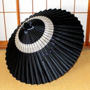 和傘、黒、蛇の目柄