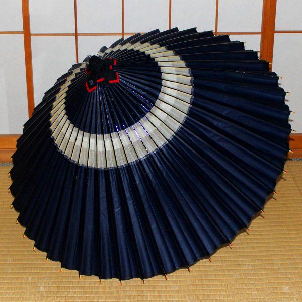 蛇の目柄 藍色 中置 和傘 蛇の目傘 Japanese umbrella