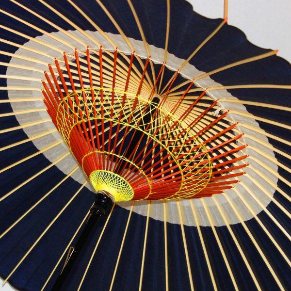 藍色の蛇の目傘 蛇の目柄 内側の糸飾り 中置 Japanese umbrella