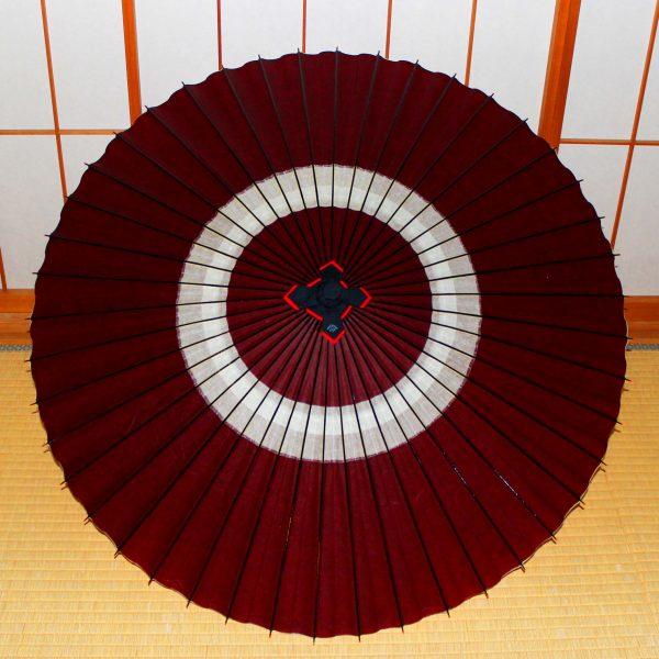 蛇の目傘 えび茶色 蛇の目柄 Japanese umbrella brown 中置