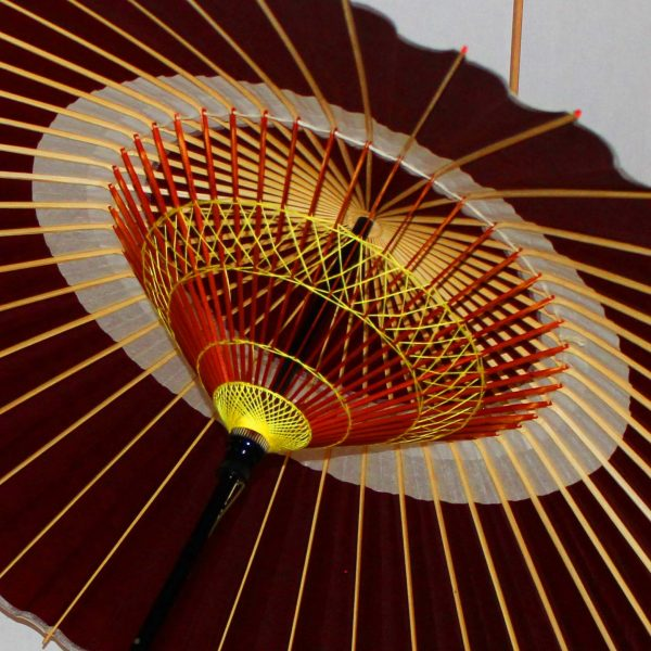Japanese umbrella 蛇の目傘 糸飾り えび茶色