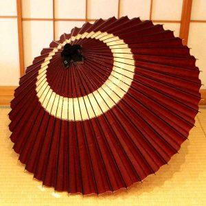 蛇の目もようの和傘、雨傘、手作り