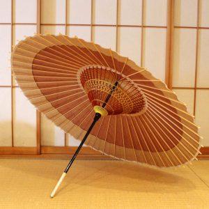 蛇の目傘 番傘 軒色変わり 茶色