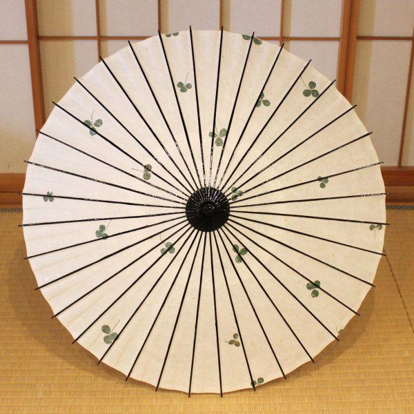 和日傘 葉入り和紙 クローバー 白い和日傘
