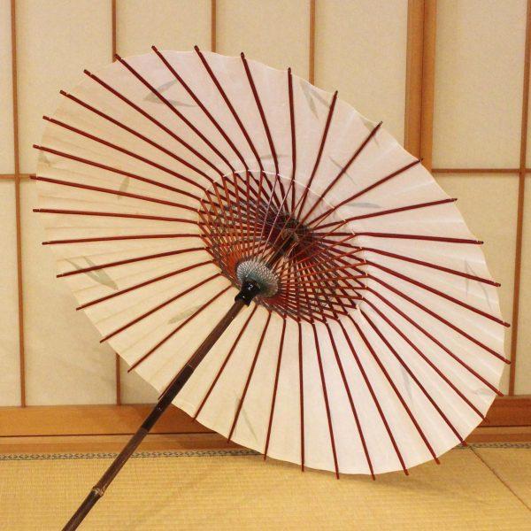 和日傘 笹の葉入りの和紙 黒竹