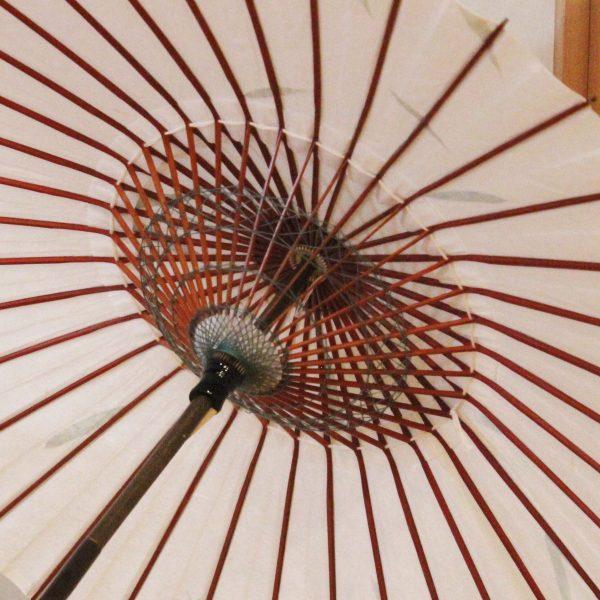 和日傘の内側 糸飾り