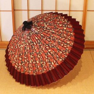 和柄の和傘、雨の日の和傘、茶系の和傘
