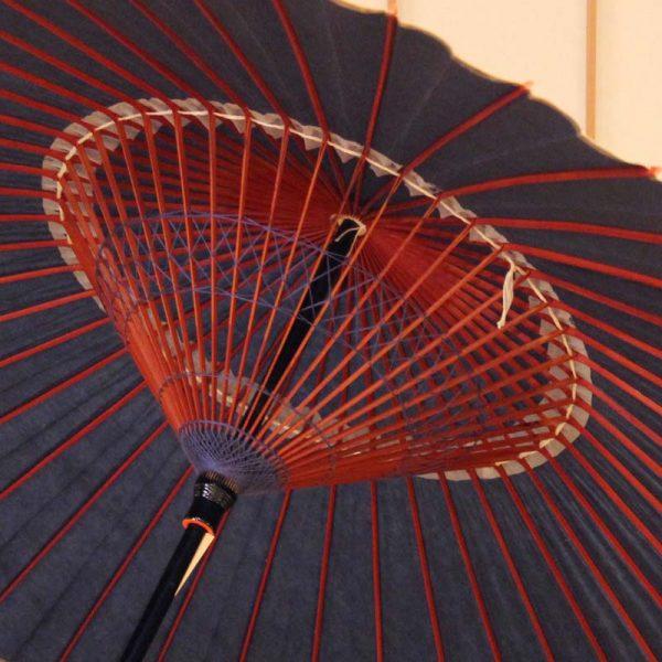 雨の日の和傘、藍色の蛇の目傘、青色の番傘、Japanese umbrella、雨の日の和傘