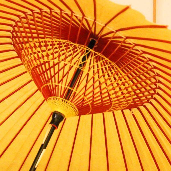 黄金色の和傘、雨の日の和傘