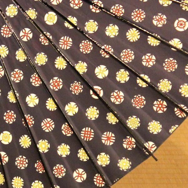 型染和紙の和日傘-紺色地に花の紋が傘全体にあります。