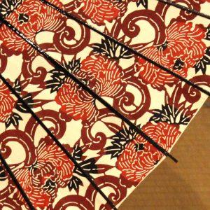 牡丹唐草模様の型染和紙の日傘です。