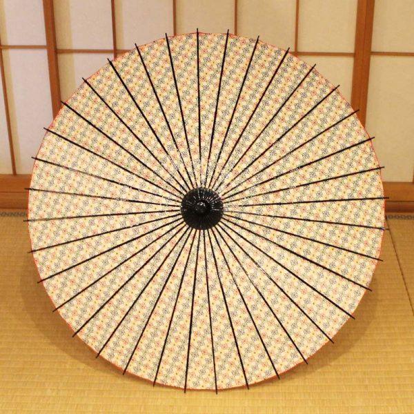 型染和紙の和日傘 赤,黄,青色の3色の小花が全体にあります。