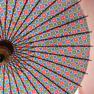 型染和紙を使用した和柄模様の和紙の日傘です。日本の職人がつくる手作り品です。