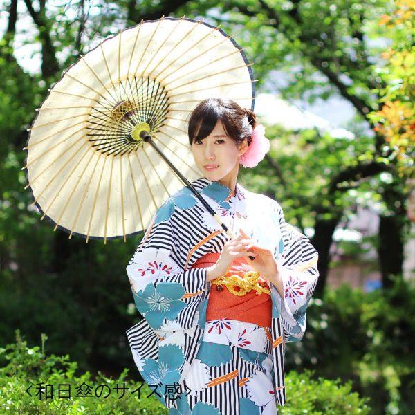和日傘を持った浴衣姿の女性