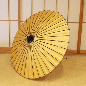 友禅和紙の黄色い小紋柄の和日傘です。