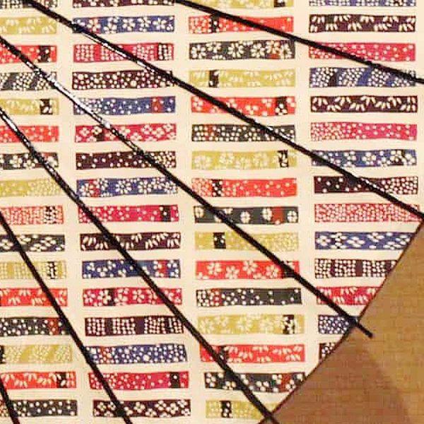 黒竹和日傘 型染短冊模様 色とりどりの短冊柄が可愛い