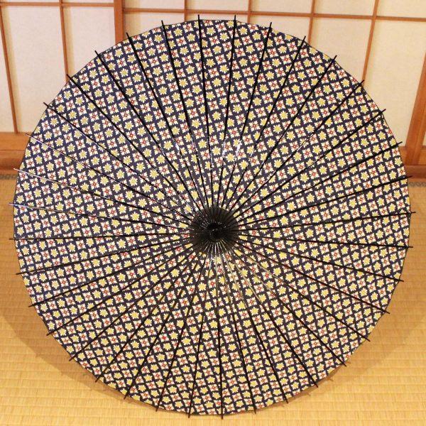 日傘/木柄/花紋/青