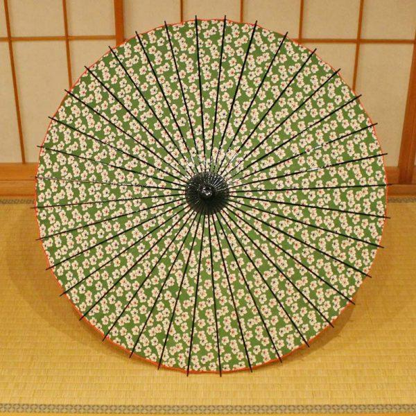 型染和紙の日一輪草の花が全面に入った型染和紙の日傘です。竹と和紙の天然素材原材料としています。