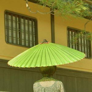 緑色の和傘(蛇の目傘)
