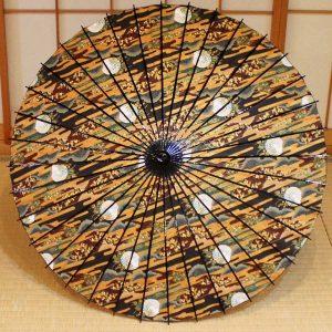 月夜のうさぎの京友禅和紙を和日傘に仕立てました、趣のある和日傘です。