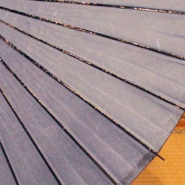 和紙、黒竹、木と原材料全てを天然素材で作り上げた和日傘です。空色の和日傘です。