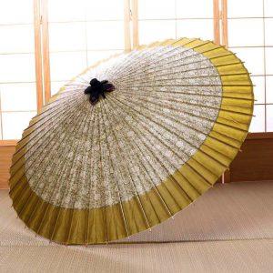 牡丹唐草もようにふちの色は薄黄緑色の雨の日用の和傘です。