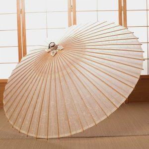 京都の無形文化財に指定された京都の黒谷の手すき和紙と真竹を材料として」製作した大変丈夫な黒谷和紙の白色の蛇の目傘