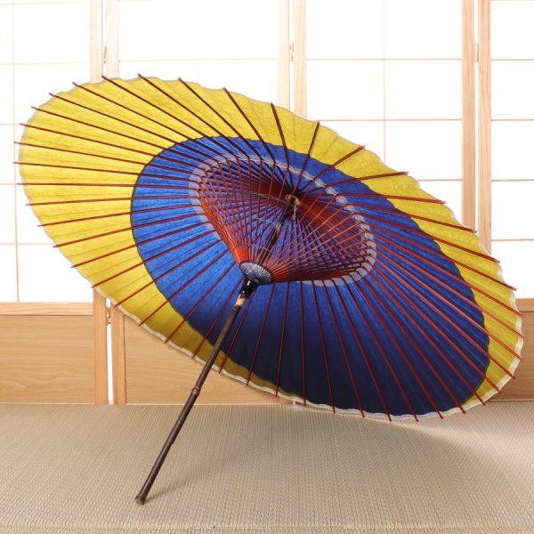 藍色と若草色の三日月模様の傘