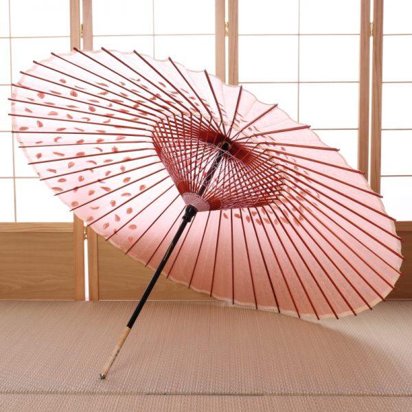 桜もようの桃色の和傘です。