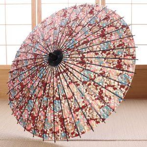 友禅もように和傘『雪輪に四季の花』