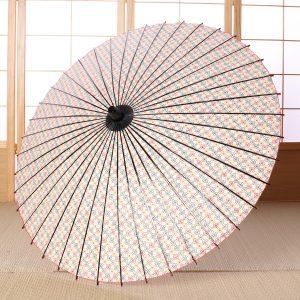 白地に小花模様の可愛らしい和日傘